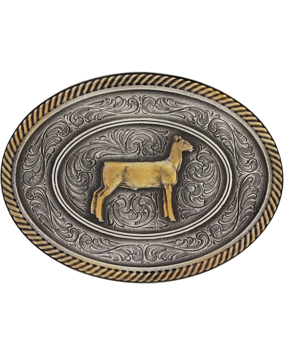 Montana Silversmiths Prize Ewe Classic Impressions Attitude Belt Buckle, Multi, hi-res