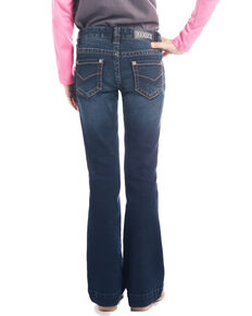 Rock & Roll Cowgirl Girls' Dark Wash Trousers, Blue, hi-res