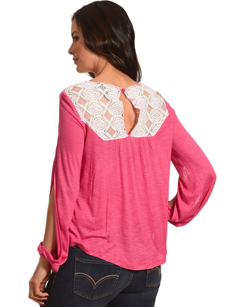 Cowgirl Up Women's Pink Lace Yoke Peasant Top , Pink, hi-res