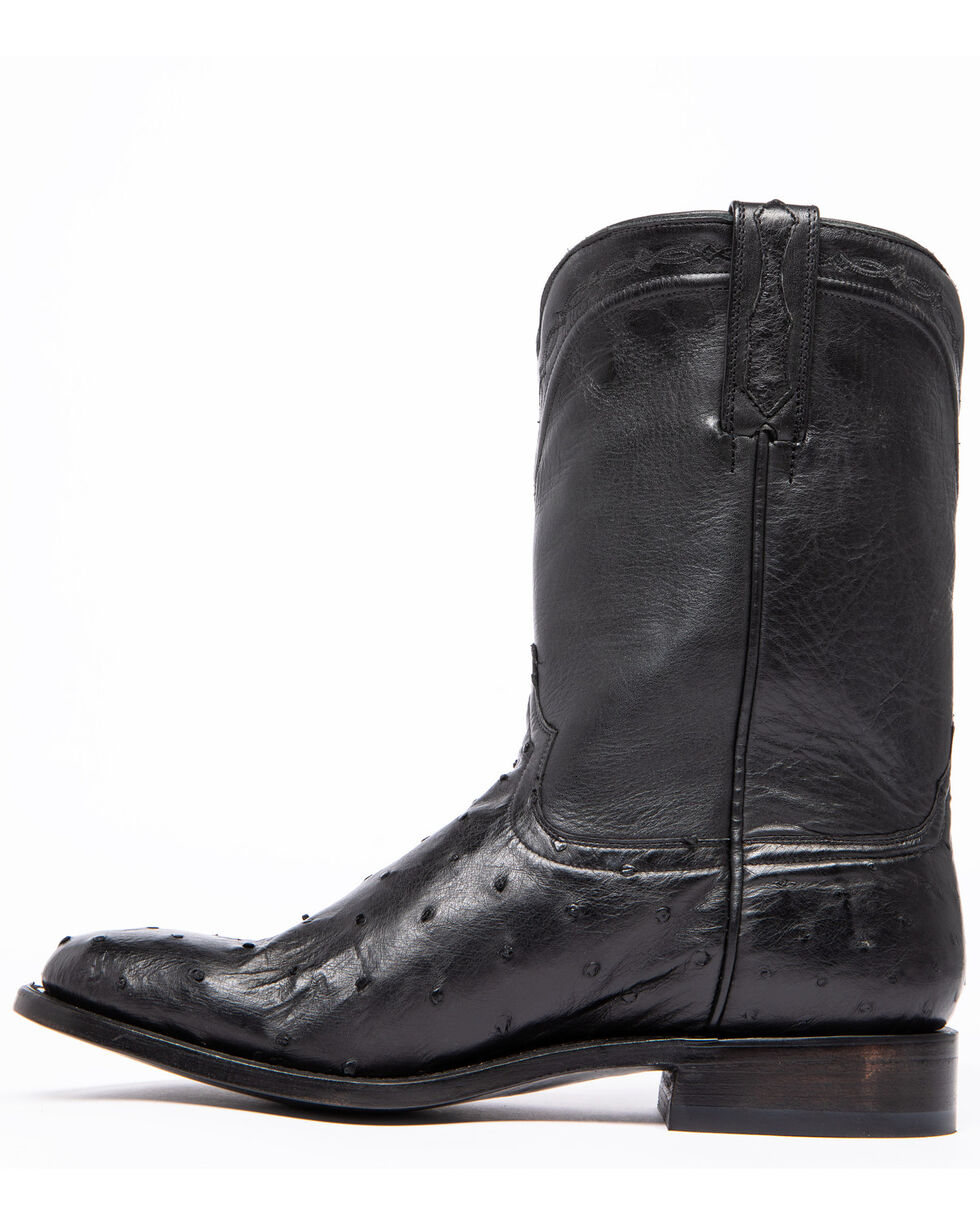 Cody James Men's Black Full-Quill Ostrich Western Boots - Round Toe, Black, hi-res