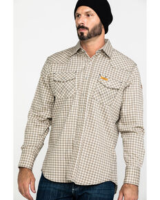Wrangler Men's FR Lightweight Plaid Work Shirt, Khaki, hi-res