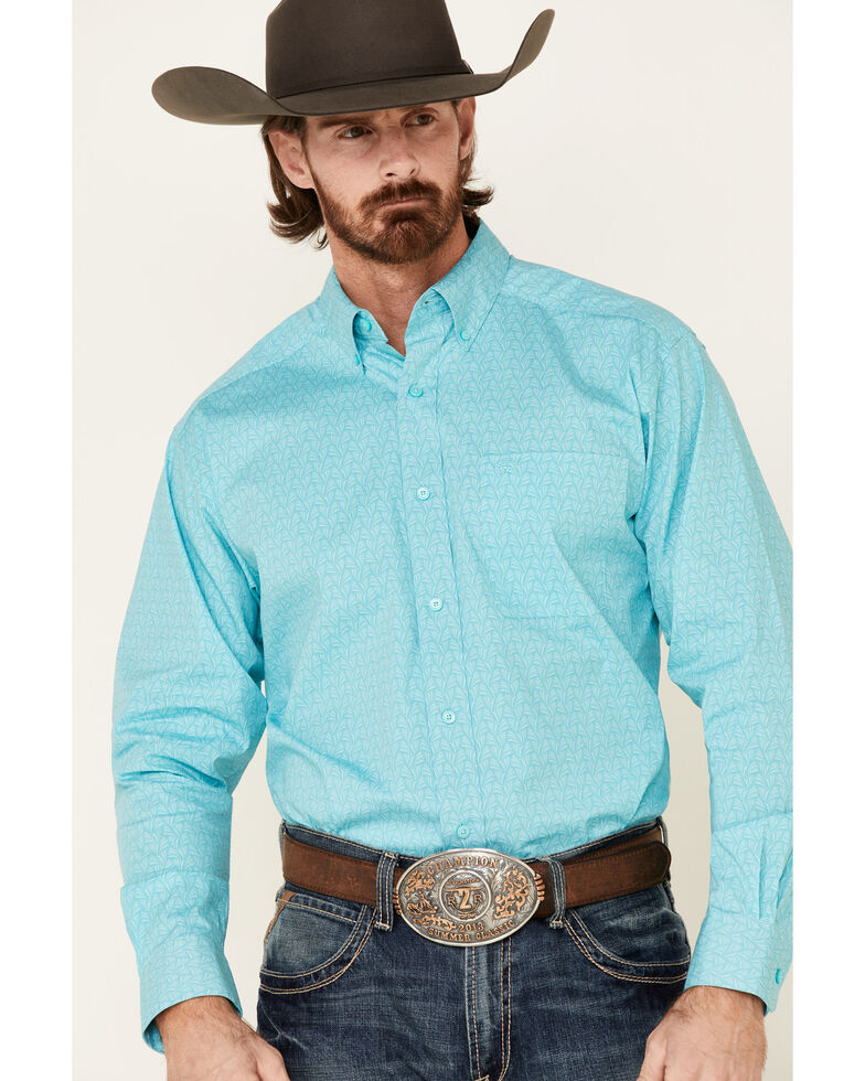 Ariat Men's Teron Stretch Geo Print Long Sleeve Western Shirt , Turquoise, hi-res