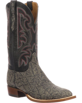 Lucchese Men's Handmade Carrington Grey Elephant Cowboy Boots - Square Toe, Grey, hi-res