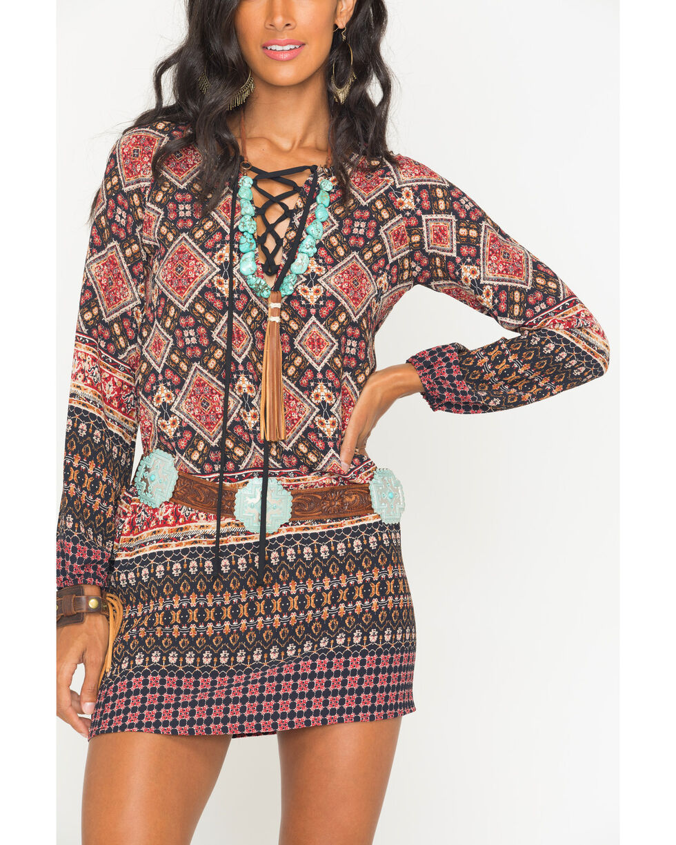 Glam Women's Autumn Breeze Lace Front Peasant Dress , Black, hi-res