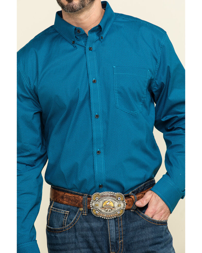 Cody James Core Men's Ringfield Micro Geo Print Long Sleeve Western Shirt - Big , Black, hi-res