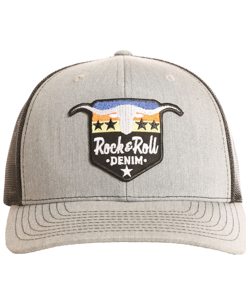 Rock & Roll Cowboy Men's Steer and Stars Ball Cap, Grey, hi-res