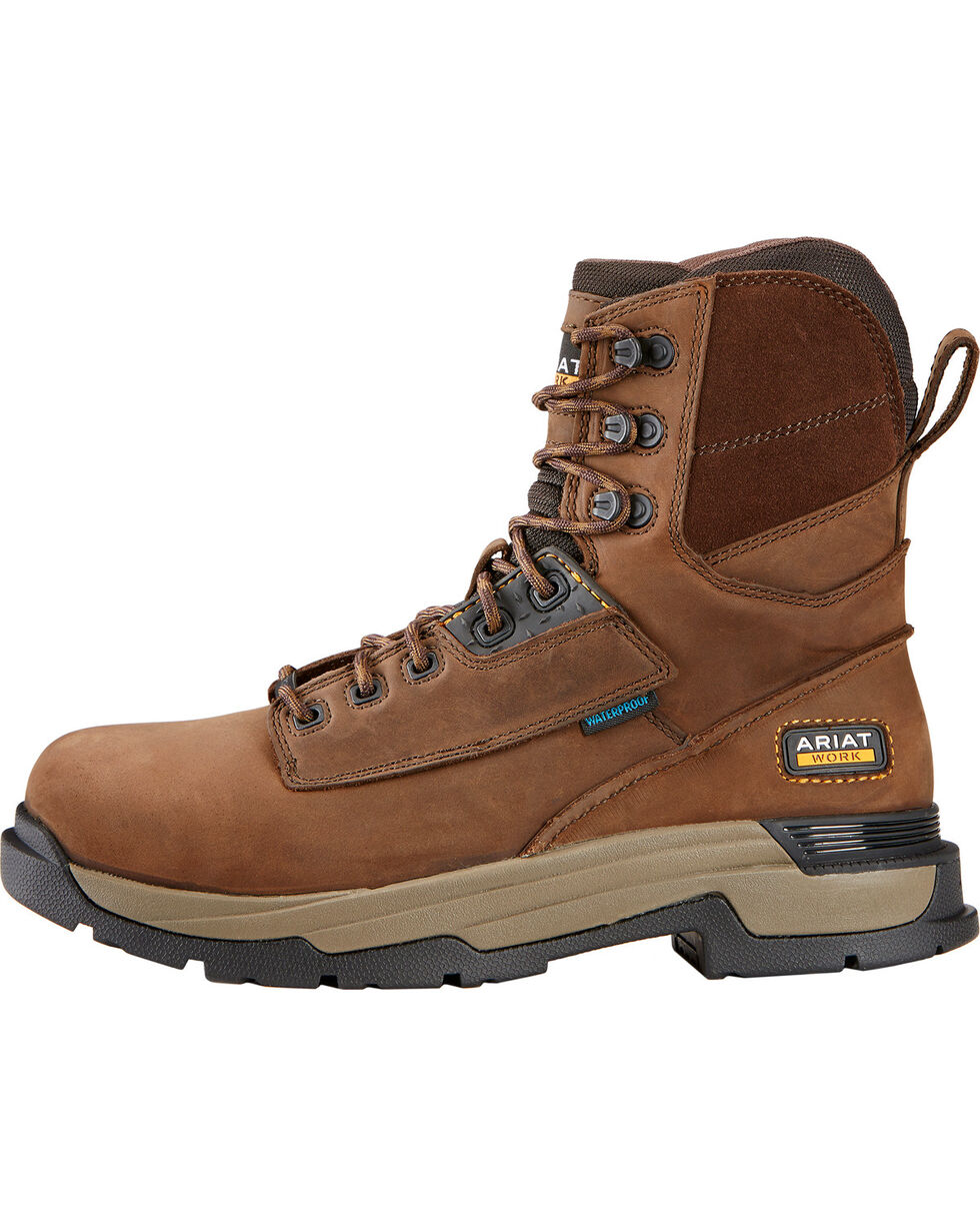 Ariat Men's Master Grip Composite Toe WP Work Boots, Brown, hi-res