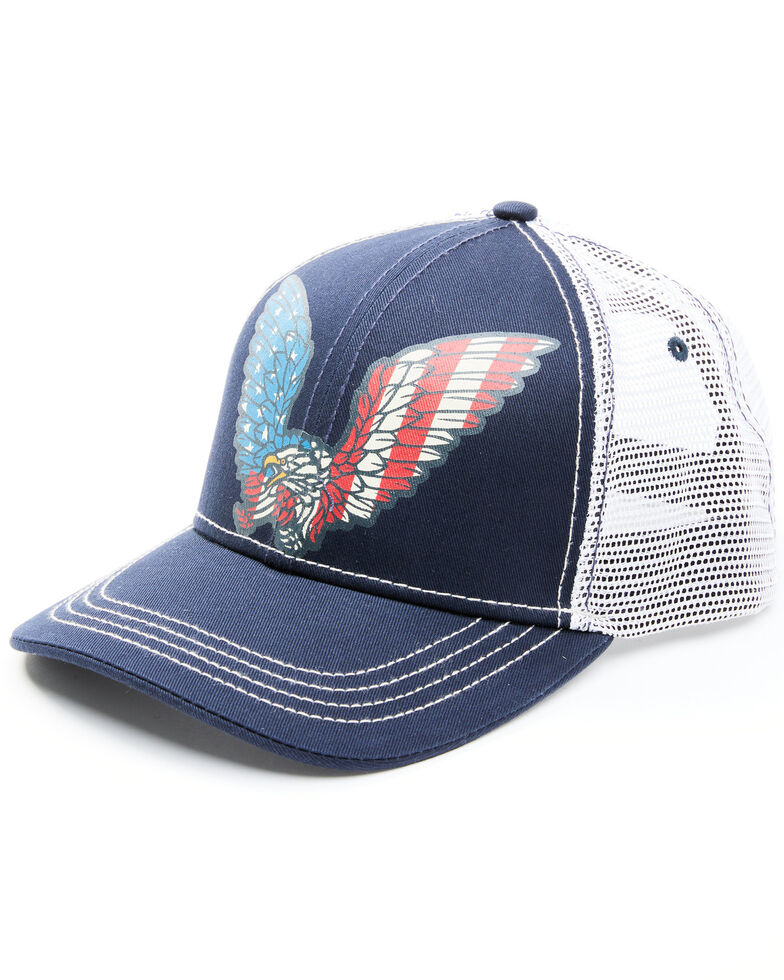 Moonshine Spirit Men's American Eagle Mesh-Back Ball Cap , Navy, hi-res