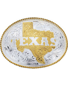 Montana Silversmiths Silver Engraved State of Texas Western Belt Buckle, Multi, hi-res