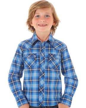 Wrangler Boys' Blue Plaid Long Sleeve Shirt, Blue, hi-res