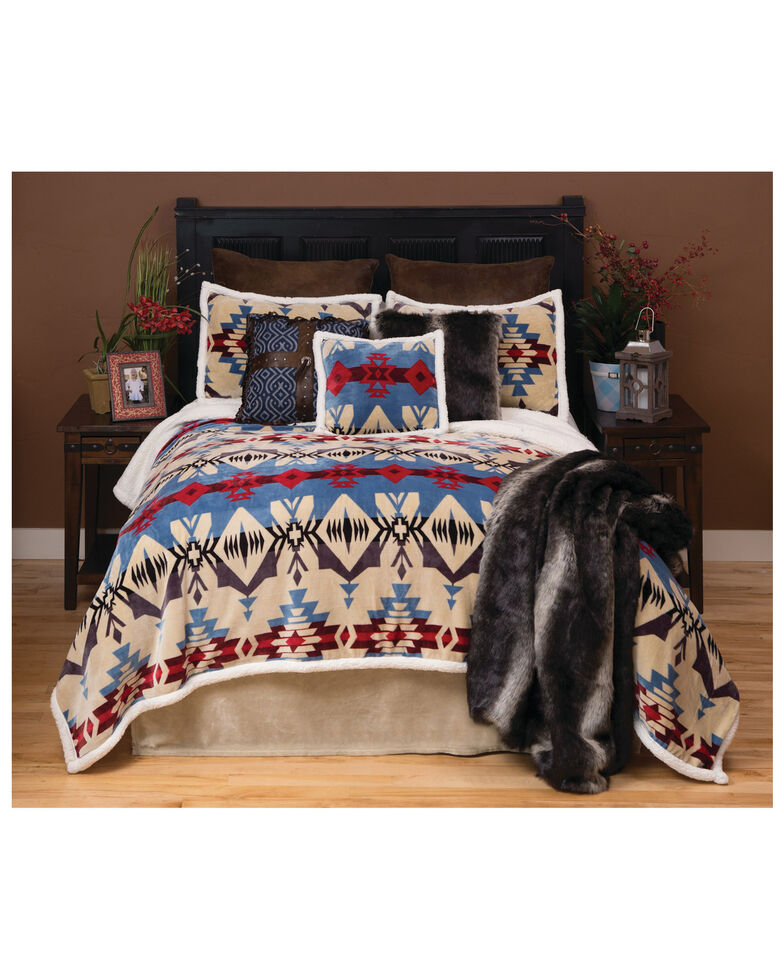 Carstens Home Blue River Southwestern 3-Piece Sherpa Fleece Bedding Set - Twin Size, Blue, hi-res