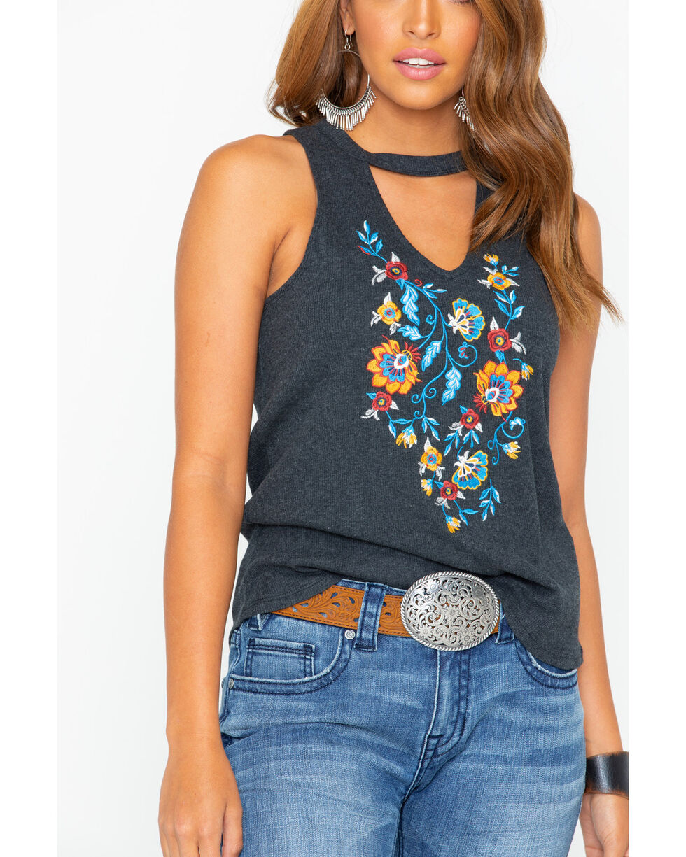 Shyanne Women's Embroidered Choker Neck Rib Tank, Charcoal, hi-res