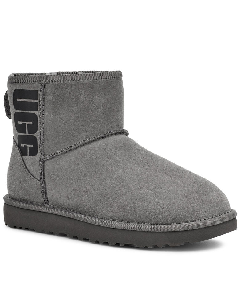 UGG Women's Grey Classic Mini Boots - Round Toe, Grey, hi-res