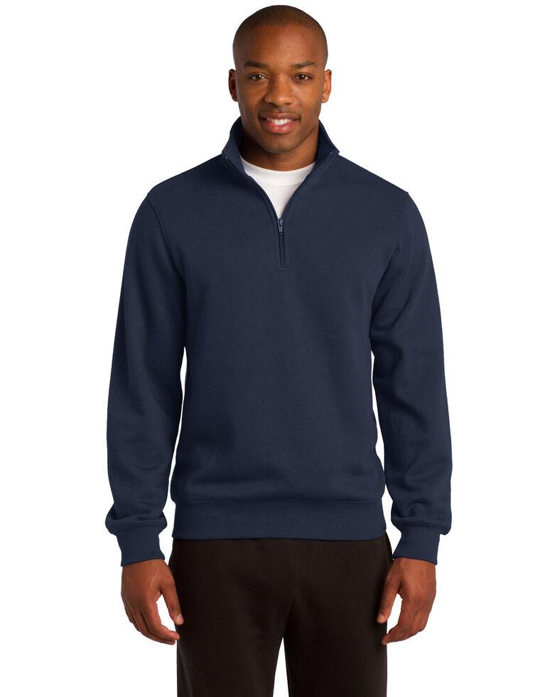 Sport Tek Men's Navy 3X 1/4 Zip Pullover Sweatshirt - Big, Navy, hi-res