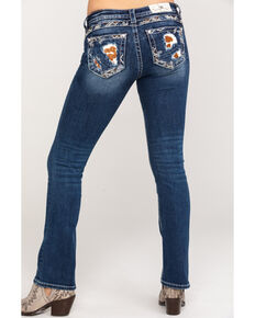 57ecb5f3735 Miss Me Women's Mid Rise Cow Print Boot Cut Jeans