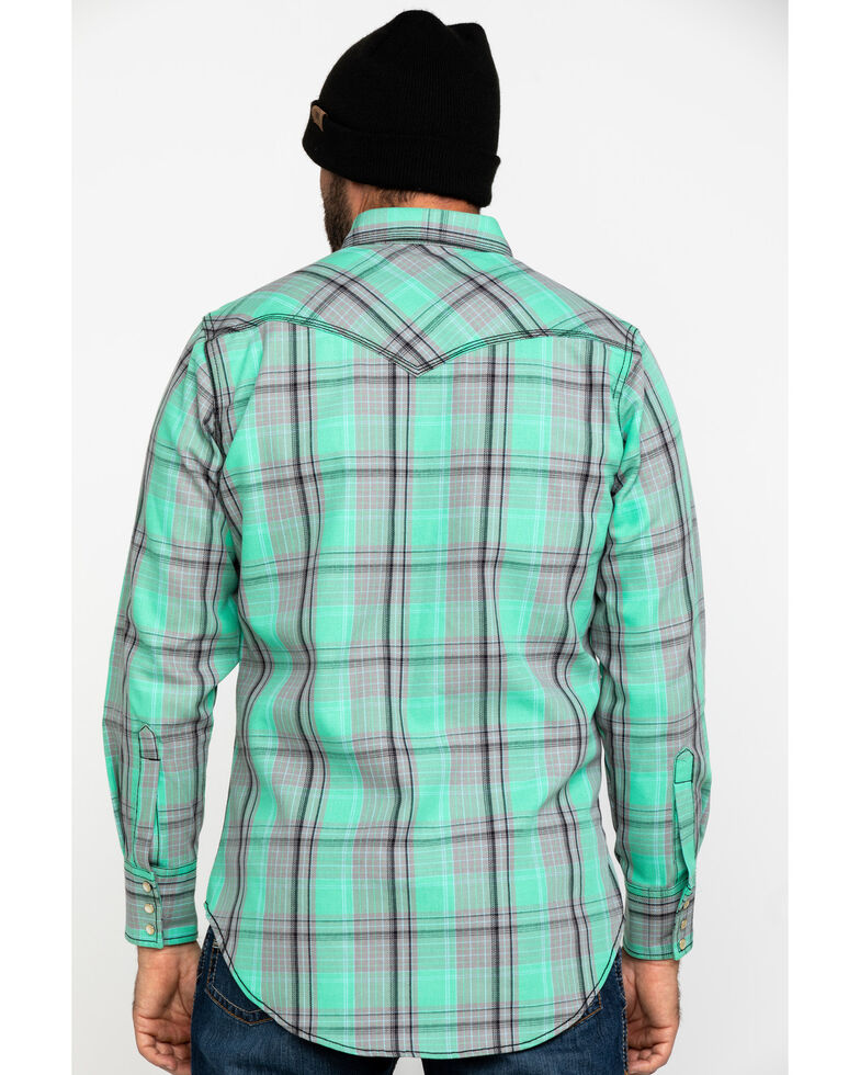 Wrangler 20X Men's FR Green Plaid Long Sleeve Work Shirt - Tall , , hi-res