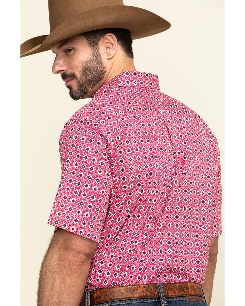 Ariat Men's Kaufman Stretch Geo Print Long Sleeve Western Shirt - Tall, Red, hi-res