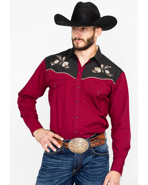Ely Cattleman Men's Burgundy Two-Toned Embroidered Long Sleeve Western Shirt  , Burgundy, hi-res