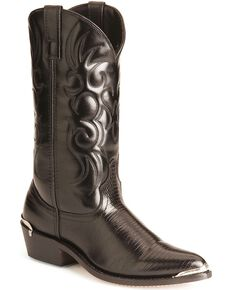 Laredo Men's Lizard Print Cowboy Boots - Pointed Toe, Black, hi-res