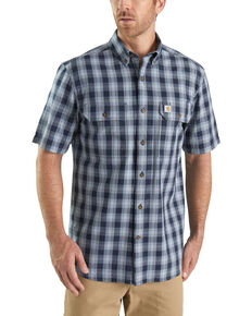 Carhartt Men's Grey Fort Plaid Button Short Sleeve Work Shirt , Navy, hi-res