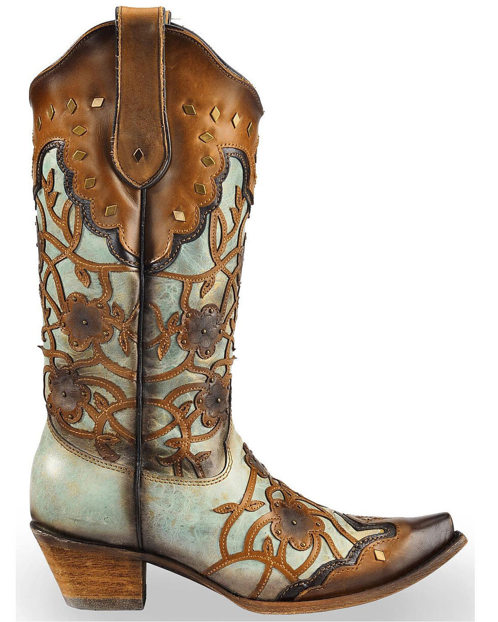 Corral Women's Floral Overlay and Studs Snip Toe Western Boots, Brown, hi-res