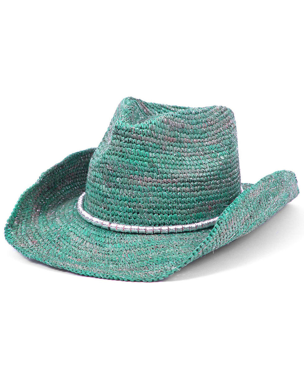 Physician Endorsed Women's Sierra Turquoise Crochet Raffia Silver Beaded Hat, Turquoise, hi-res