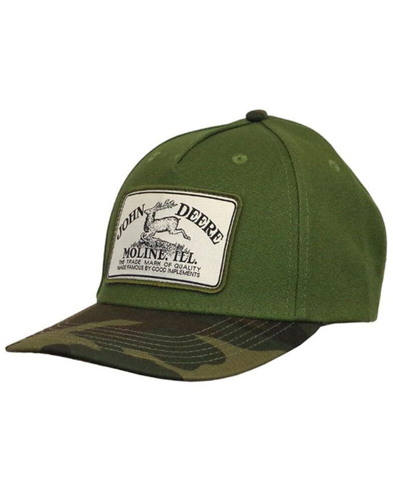 John Deere Men's Olive Green Camo Bill Vintage Patch Ball Cap , Olive, hi-res