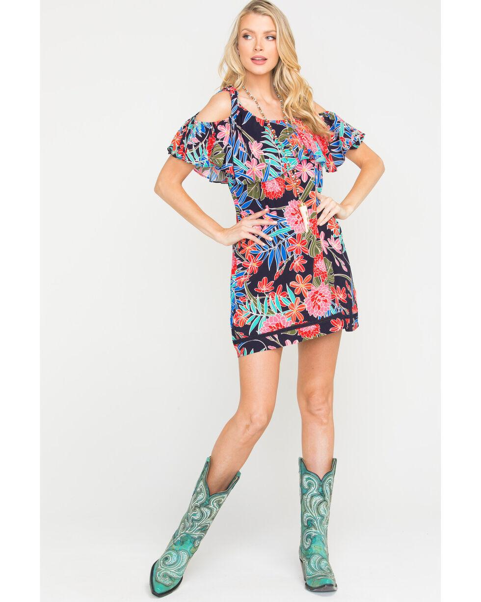 Miss Me Women's Open Shoulder Floral Print Dress, Navy, hi-res