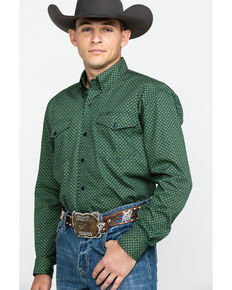 Roper Men's Amarillo Satellite Geo Print Long Sleeve Western Shirt  , Green, hi-res