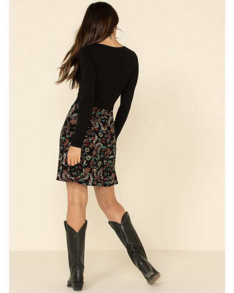 Idyllwind Women's Floral Side Step Printed Skirt, Black, hi-res