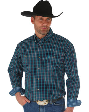 Wrangler George Strait Navy Men's Plaid Shirt - Big, Navy, hi-res