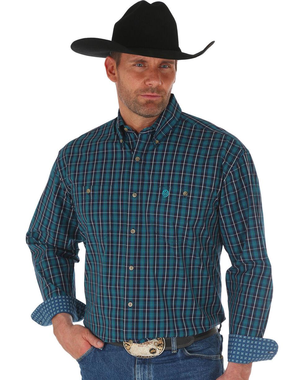 Wrangler George Strait Navy Men's Plaid Shirt - Big & Tall, Navy, hi-res