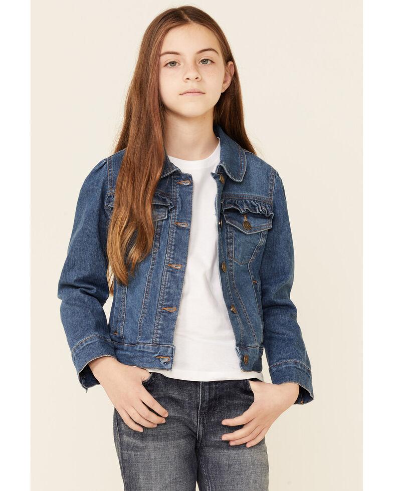 Urban Republic Girls' (8-16) Medium Wash Ruffle Yoke Buffon-Front Denim Jacket , Indigo, hi-res
