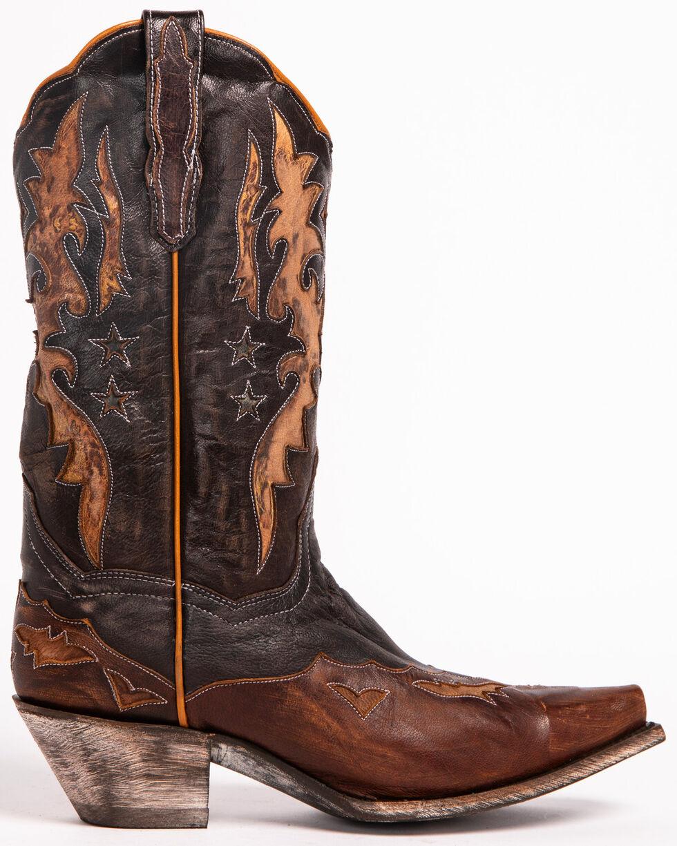 Dan Post Women's Amelia Chocolate Star Wingtip Cowgirl Boots - Snip Toe, Black, hi-res