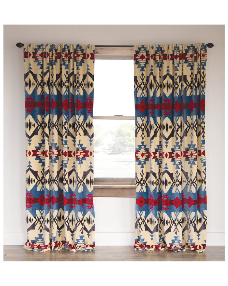 Carstens Home Blue River Southwestern Aztec Curtain Panels - Set of 2 , Blue, hi-res