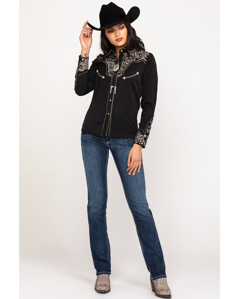 Scully Women's Scroll Embroidered Long Sleeve Western Shirt, Black/tan, hi-res