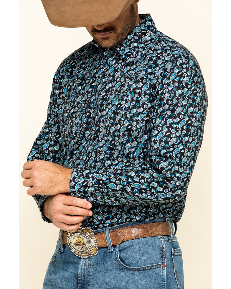 Cowboy Hardware Men's Wild Paisley Print Long Sleeve Western Shirt , Black, hi-res