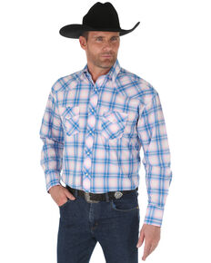 Wrangler Men's Tough Enough To Wear Pink Plaid Long Sleeve Western Shirt , Pink, hi-res