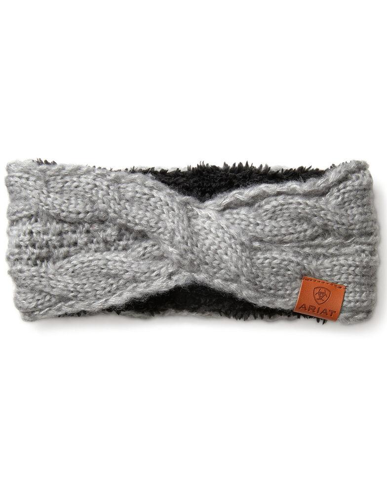Ariat Women's Cozy Cable Headband, Light Grey, hi-res