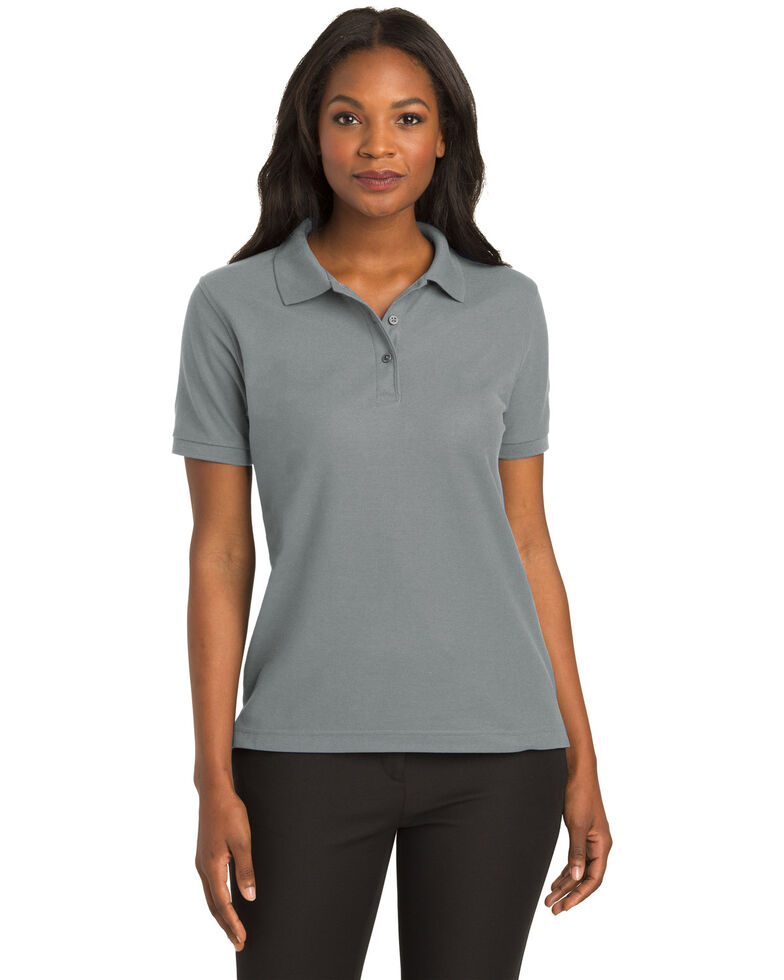 Port Authority Women's Cool Grey Silk Touch Polo, Charcoal, hi-res