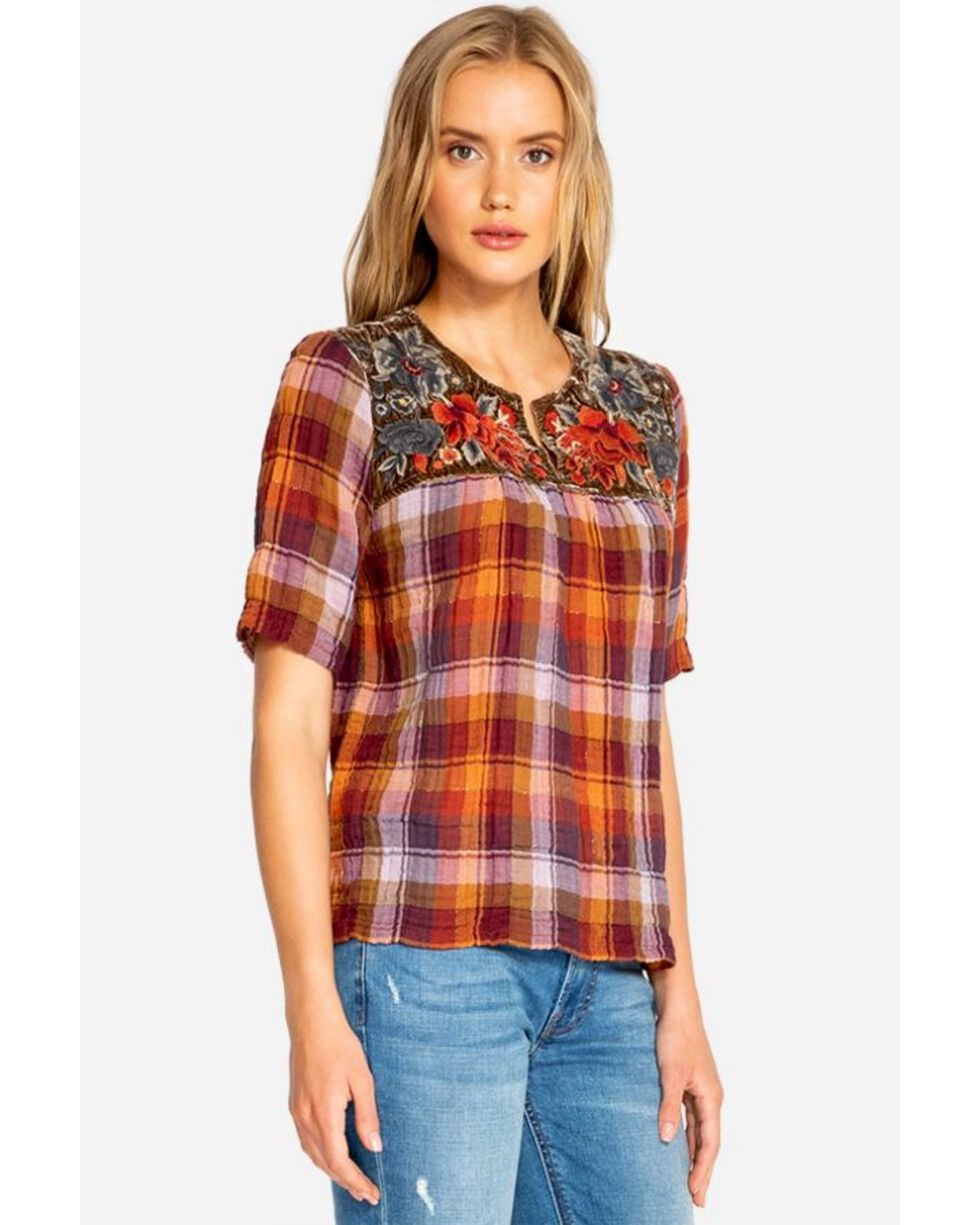 Johnny Was Women's Ferris V-Neck Crop Blouse , Multi, hi-res