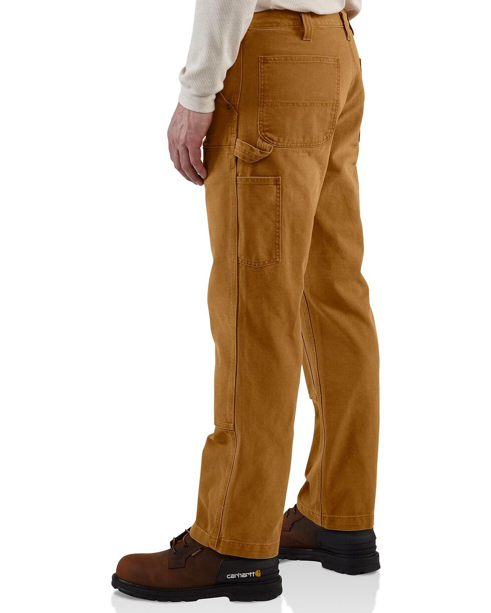 Carhartt Men's Weathered Double Front Dungaree Pants, Brown, hi-res