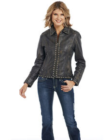 Cripple Creek Women's Studded & Hand Laced Lamb Nappa Zip Front Jacket , Black, hi-res
