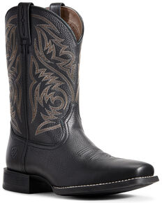 Ariat Men's Sport Herdsman Western Boots - Square Toe, Black, hi-res