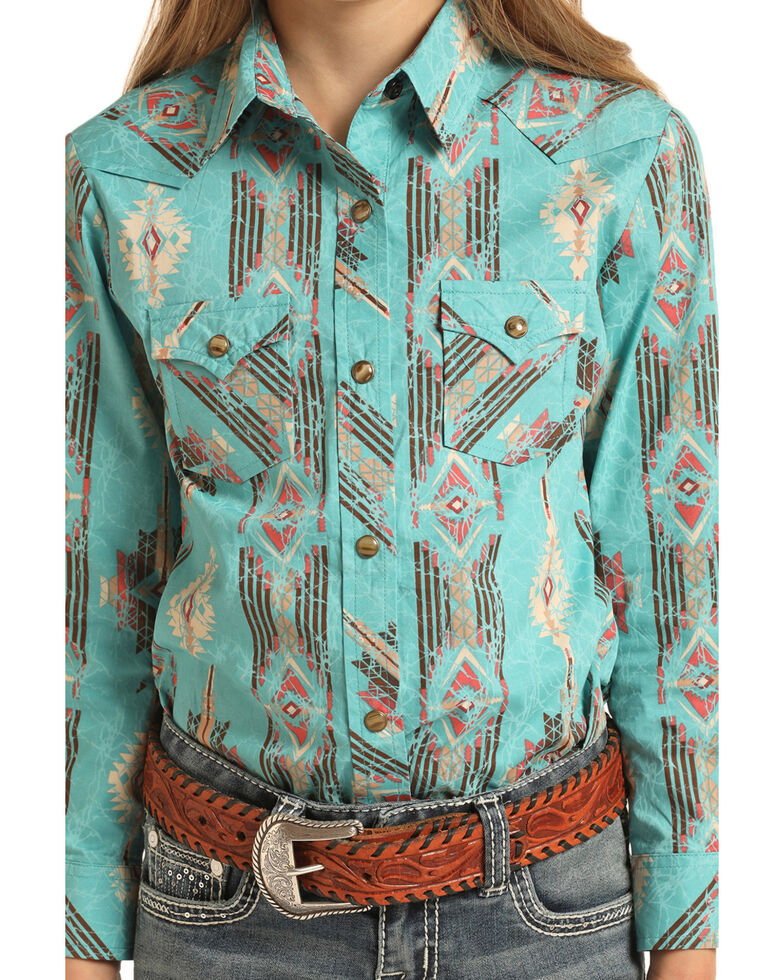 Rock & Roll Cowgirl Girls' Turquoise Aztec Print Snap Long Sleeve Western Shirt, Turquoise, hi-res