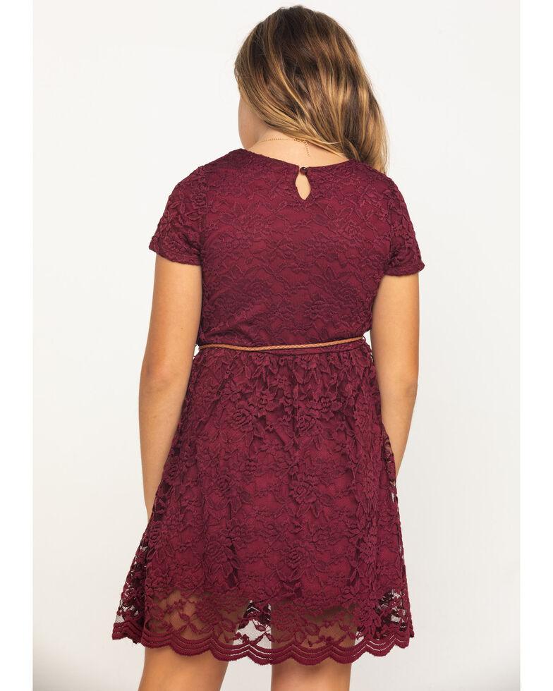 Shyanne Girls' Burgundy Lace Cap Sleeve Dress , Burgundy, hi-res