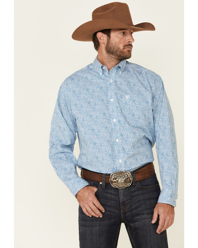 Ariat Men's Chrome Stretch Paisley Print Long Sleeve Western Shirt , Turquoise, hi-res