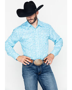 Roper Men's Blue Paisley Print Long Sleeve Western Shirt , Blue, hi-res