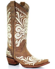 Circle G Women's Tan Embroidery Western Boots - Snip Toe, Tan, hi-res