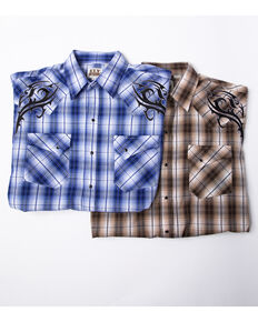 Ely Cattleman Men's Assorted Embroidered Plaid Short Sleeve Western Shirt  , Multi, hi-res